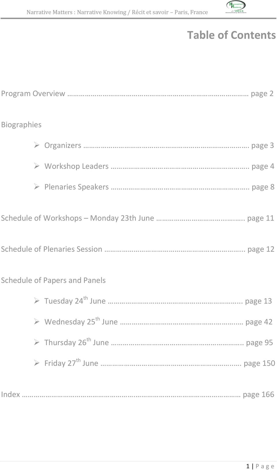 ..... page 11 Schedule of Plenaries Session.