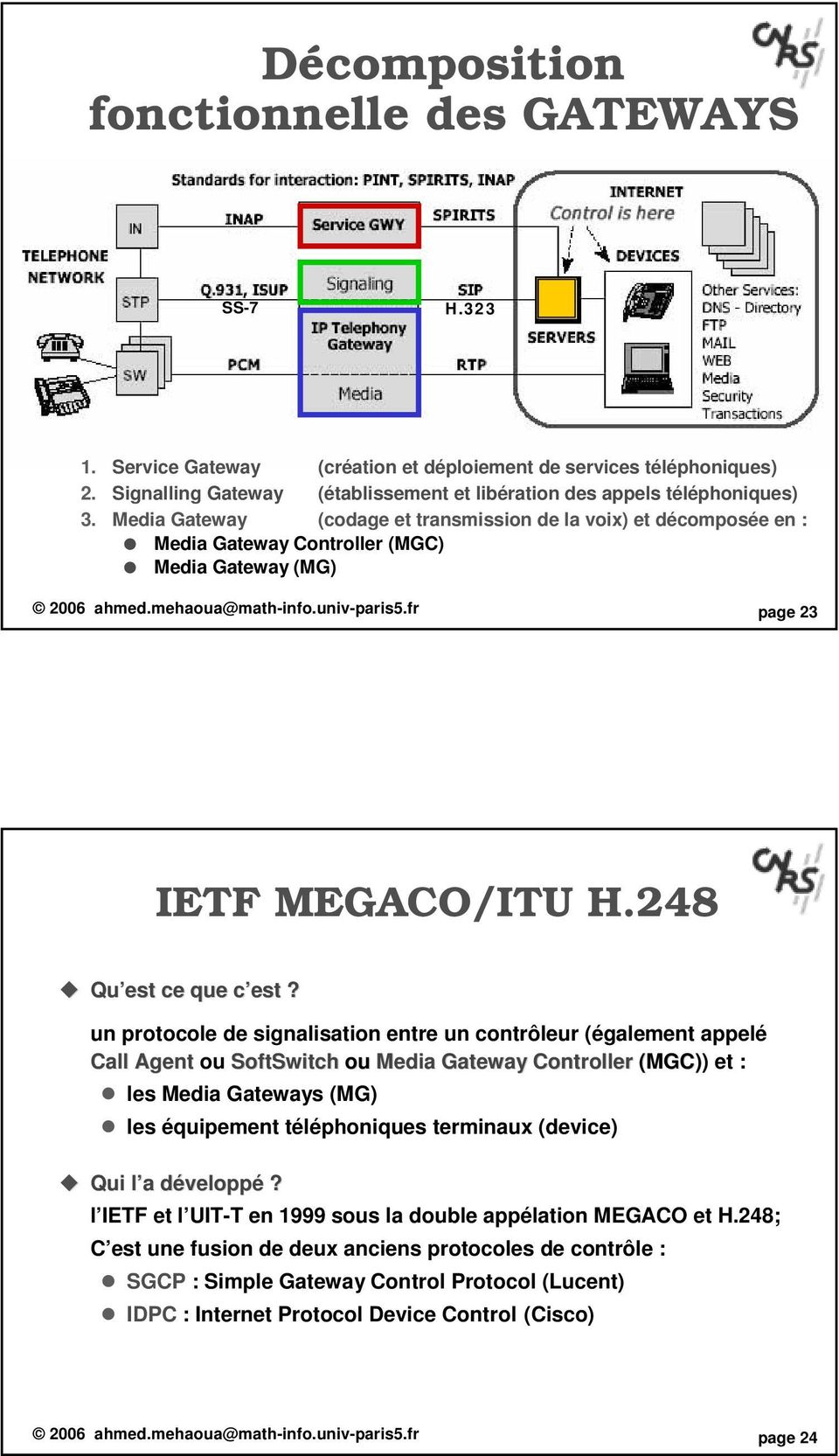 Media Gateway (codage et transmission de la voix) et décomposée en : Media Gateway Controller (MGC) Media Gateway (MG) 2006 ahmed.mehaoua@math-info.univ-paris5.fr page 23 IETF MEGACO/ITU H.