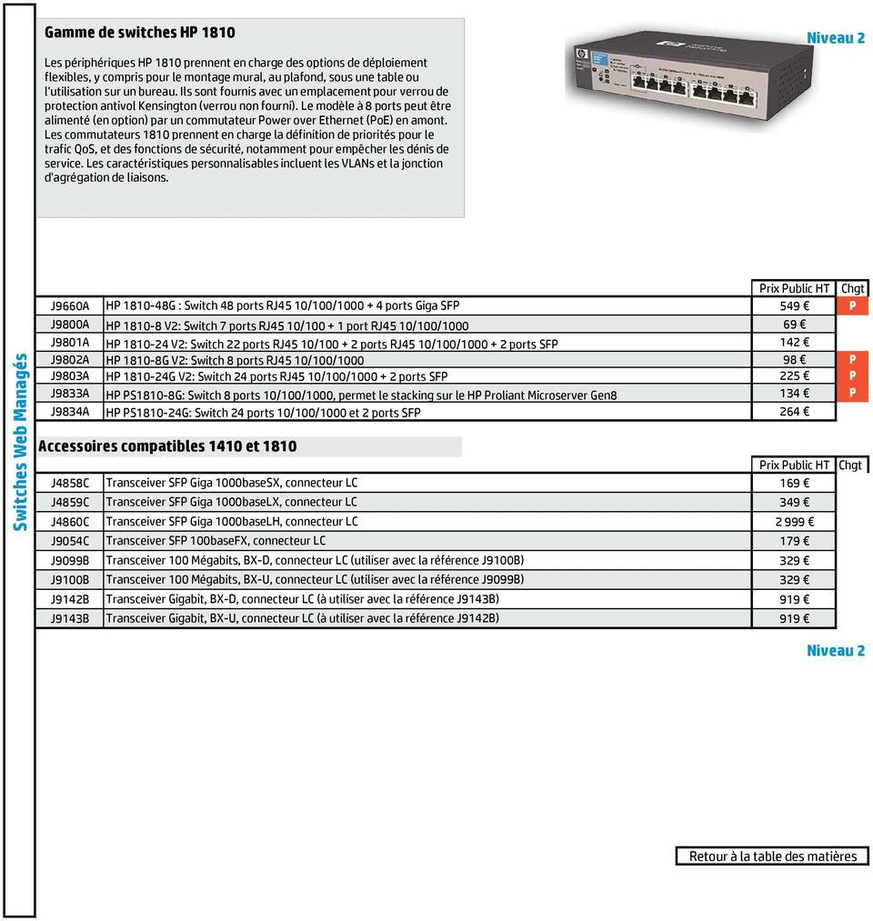 Le modèle à 8 ports peut être alimenté (en option) par un commutateur Power over Ethernet (PoE) en amont.