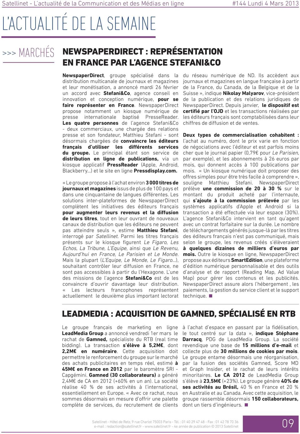 NewspaperDirect propose notamment un kiosque numérique de presse internationale baptisé PresseReader.