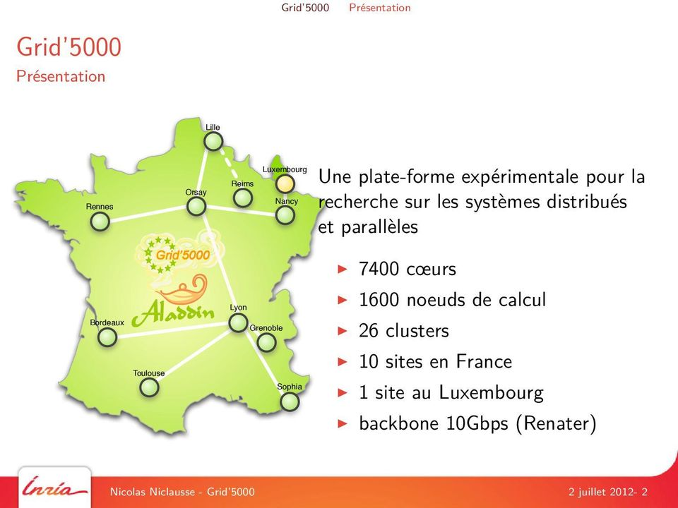 cœurs Bordeaux Lyon Grenoble 1600 noeuds de calcul 26 clusters Toulouse Sophia 10 sites en