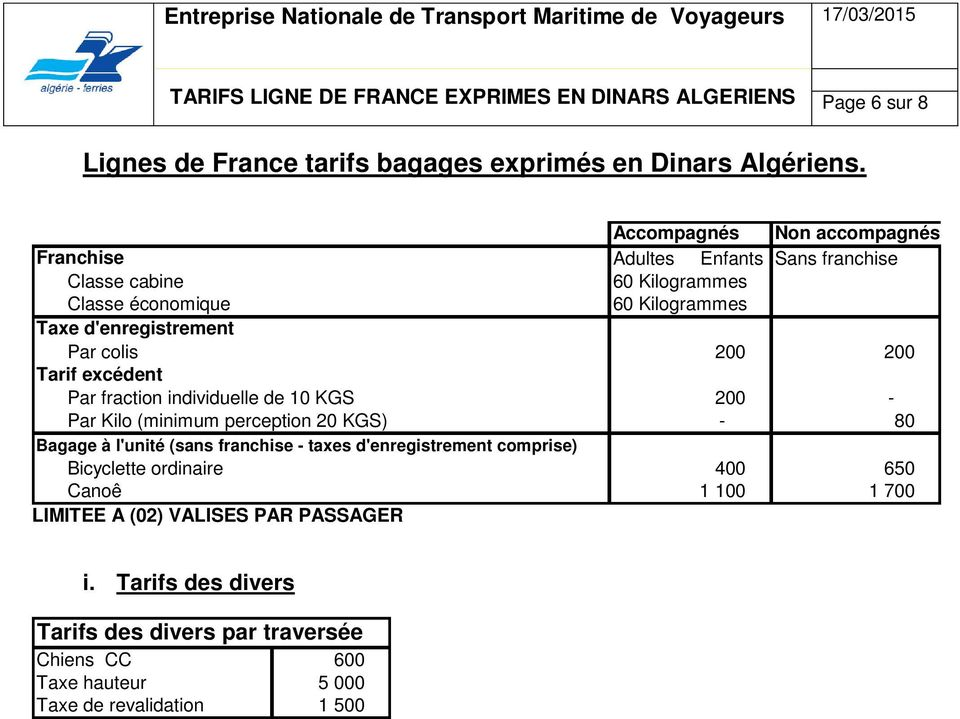 200 200 Tarif excédent Par fraction individuelle de 10 KGS 200 - Par Kilo (minimum perception 20 KGS) - 80 Bagage à l'unité (sans franchise - taxes d'enregistrement