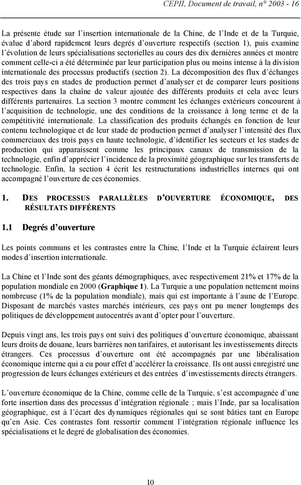 division internationale des processus productifs (section 2).
