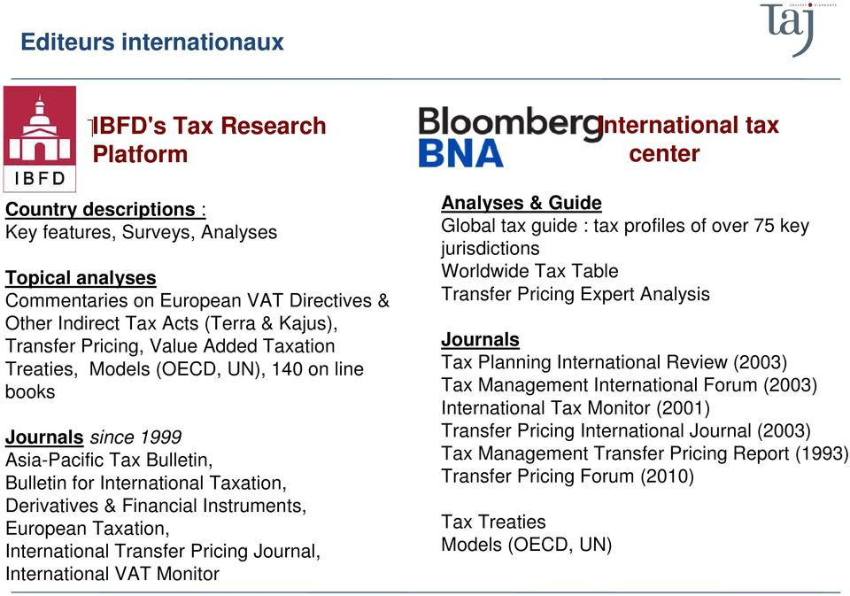 Financial Instruments, European Taxation, International Transfer Pricing Journal, International VAT Monitor International tax center Analyses & Guide Global tax guide : tax profiles of over 75 key