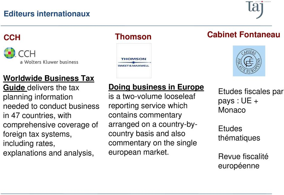 Doing business in Europe is a two-volume looseleaf reporting service which contains commentary arranged on a country-bycountry basis