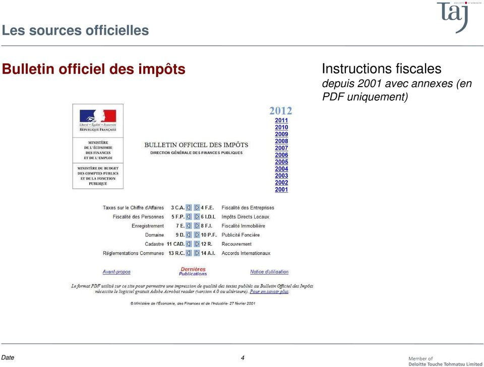 Instructions fiscales depuis