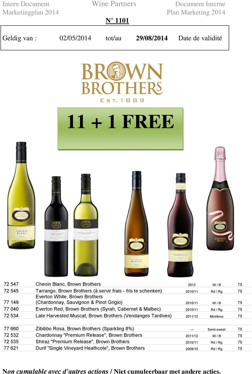 "Late Harvested Muscat, Brown Brothers (Vendanges Tardives) 2011/12 Moelleux 75 77 660 Zibibbo Rosa, Brown Brothers (Sparkling 8%) --- Semi-sweet 75 72 532 Chardonnay ""Premium Release"", Brown Brothers"