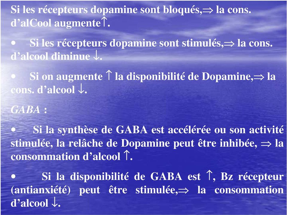 Si on augmente la disponibilité de Dopamine, la cons. d alcool.