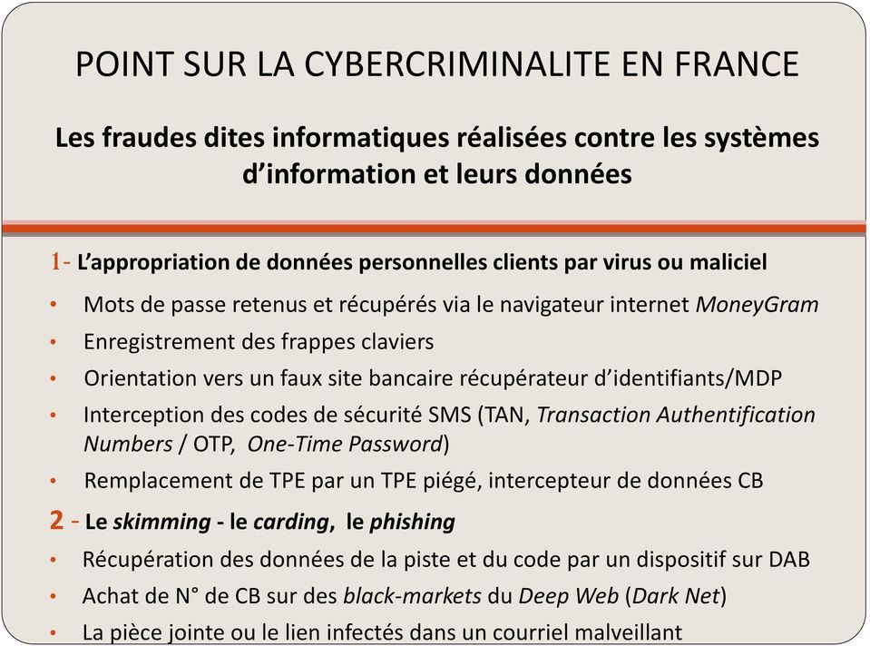 Interception des codes de sécurité SMS (TAN, Transaction Authentification Numbers / OTP, One-Time Password) Remplacement de TPE par un TPE piégé, intercepteur de données CB 2 - Le skimming - le