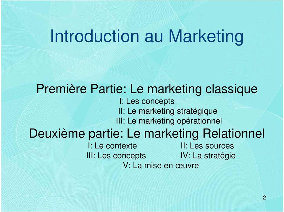 opérationnel Deuxième partie: Le marketing Relationnel I: Le