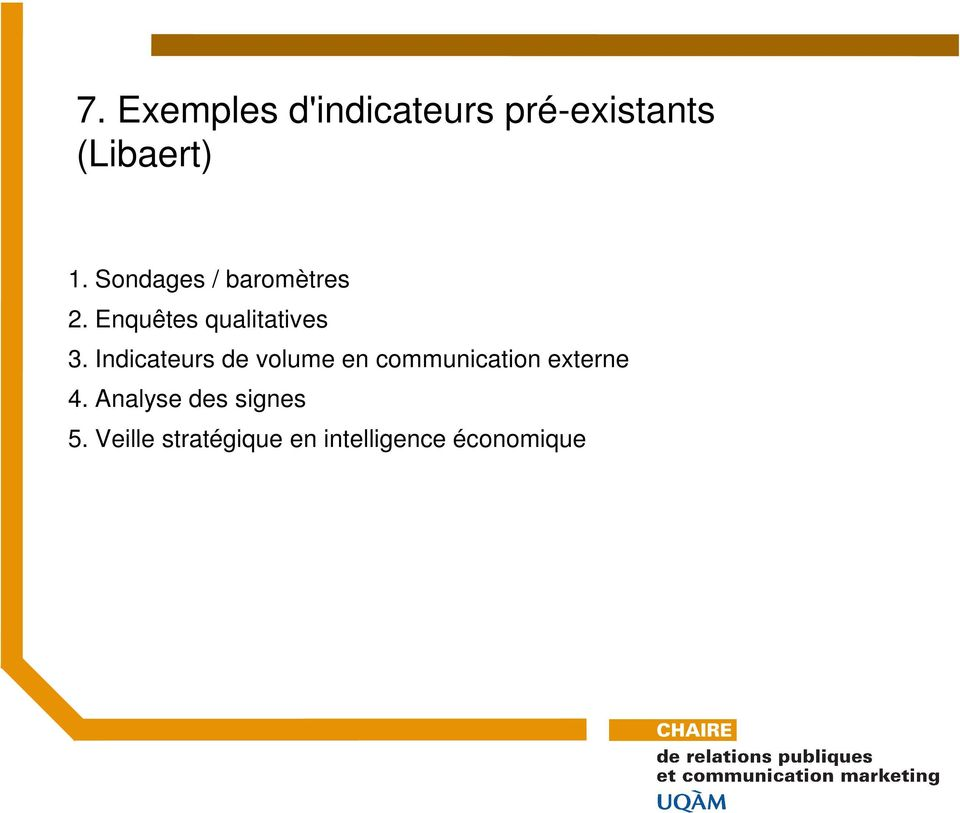 Indicateurs de volume en communication externe 4.