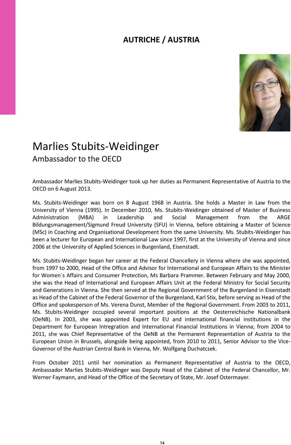 Stubits-Weidinger obtained of Master of Business Administration (MBA) in Leadership and Social Management from the ARGE Bildungsmanagement/Sigmund Freud University (SFU) in Vienna, before obtaining a
