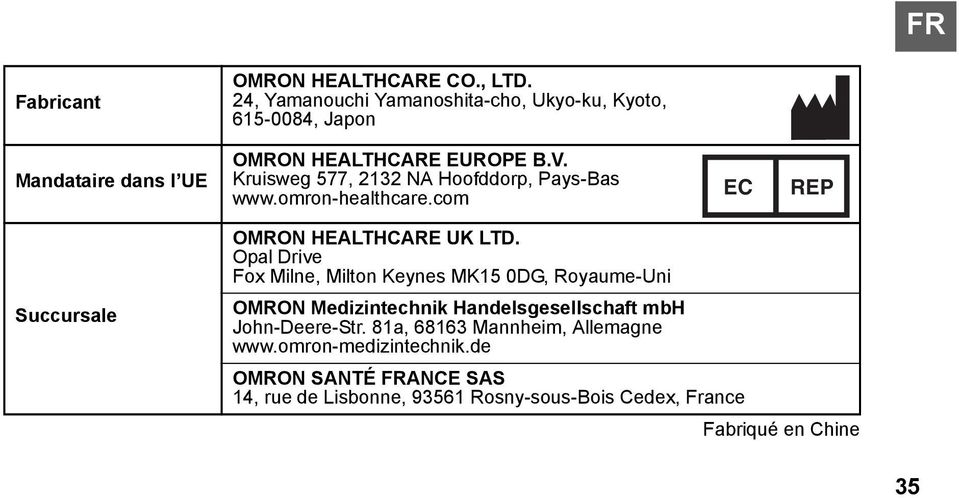 Kruisweg 577, 2132 NA Hoofddorp, Pays-Bas www.omron-healthcare.com EC REP Succursale OMRON HEALTHCARE UK LTD.