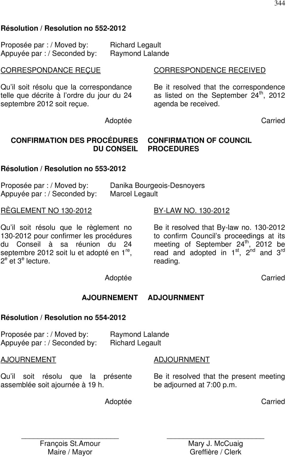 CONFIRMATION OF COUNCIL PROCEDURES Résolution / Resolution no 553-2012 RÈGLEMENT NO 130-2012 BY-LAW NO.