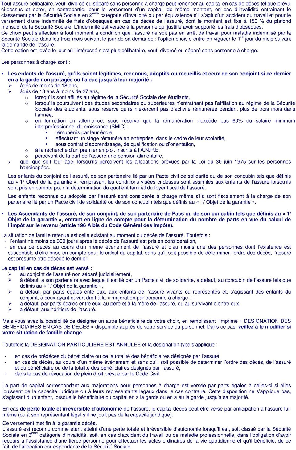 Notice d information regime de prevoyance compass group - Du plafond horaire de la securite sociale ...