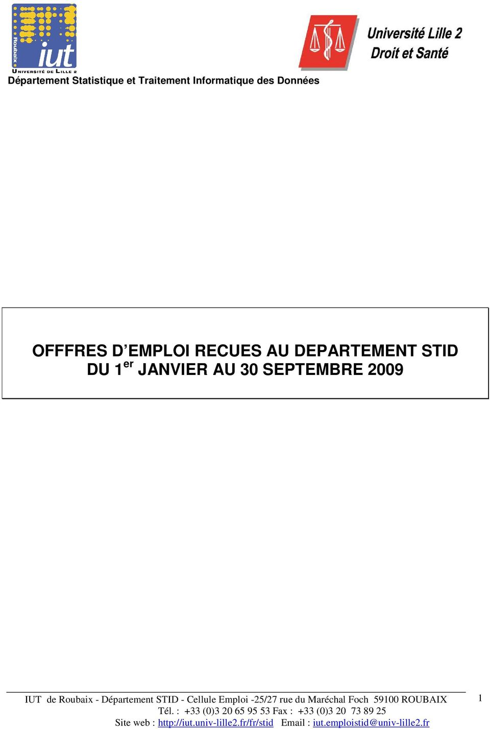 DEPARTEMENT STID DU