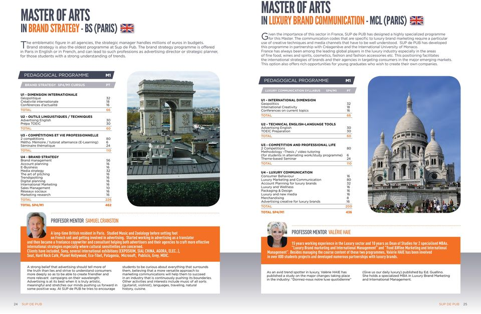 The brand strategy programme is offered in Paris in English or in French, and can lead to such professions as advertising director or strategic planner, for those students with a strong understanding