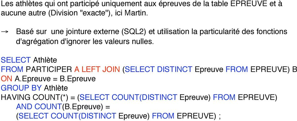 SELECT Athlète FROM PARTICIPER A LEFT JOIN (SELECT DISTINCT Epreuve FROM EPREUVE) B ON A.Epreuve = B.