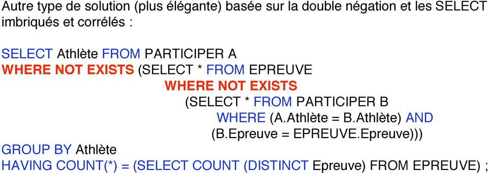 NOT EXISTS (SELECT * FROM PARTICIPER B WHERE (A.Athlète = B.Athlète) AND (B.Epreuve = EPREUVE.