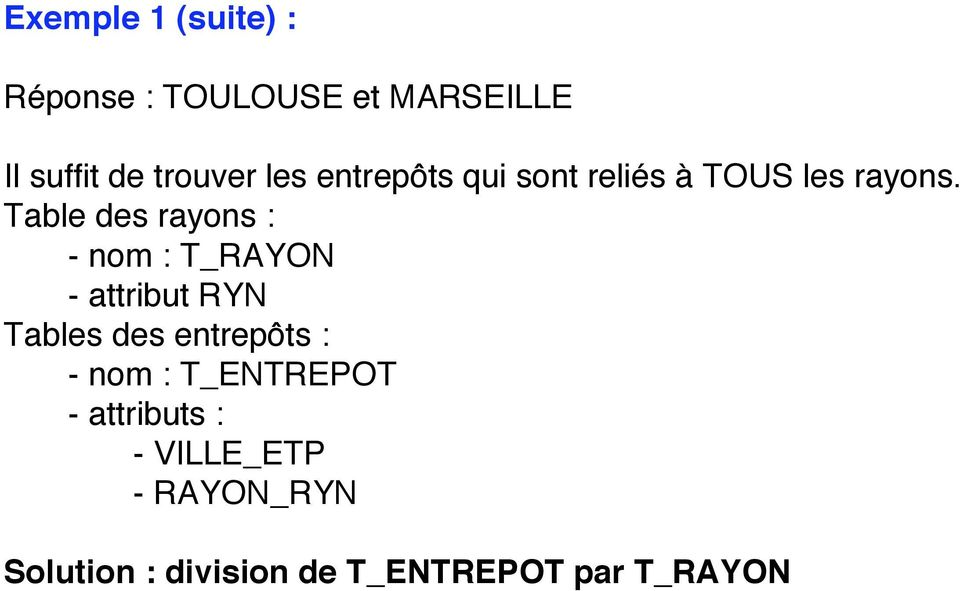 Table des rayons : - nom : T_RAYON - attribut RYN Tables des entrepôts : -
