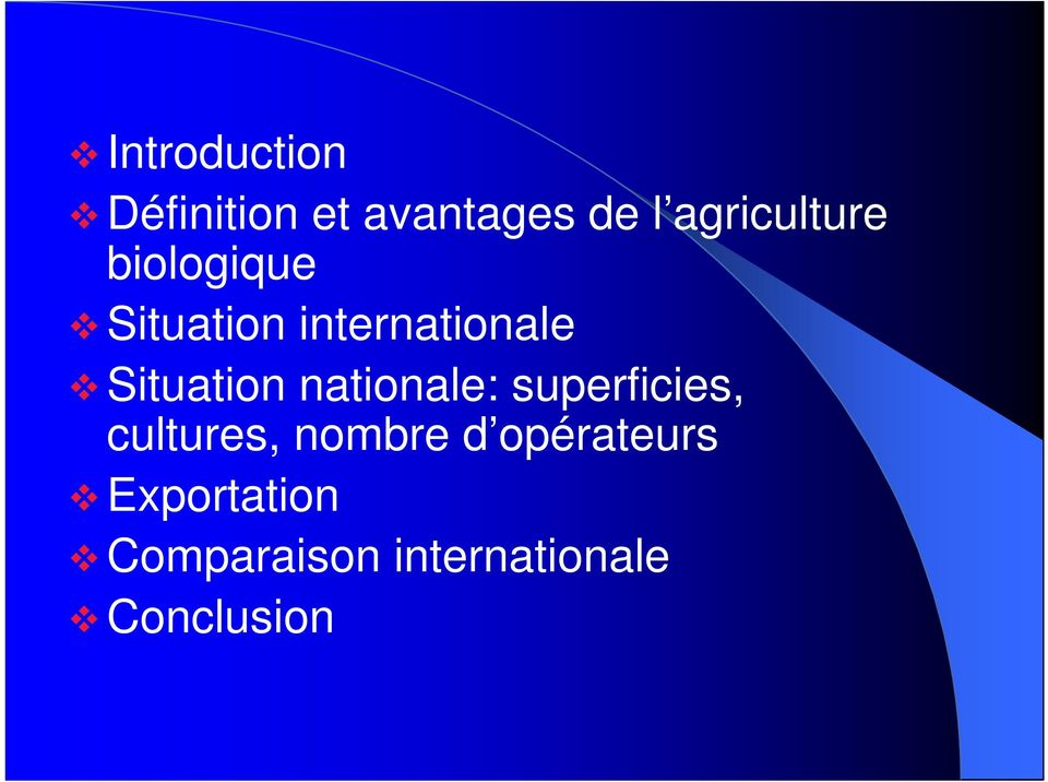 Situation nationale: superficies, cultures, nombre