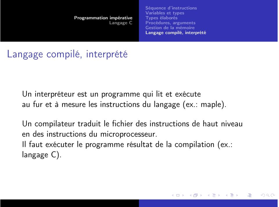 mesure les instructions du langage (ex.: maple).