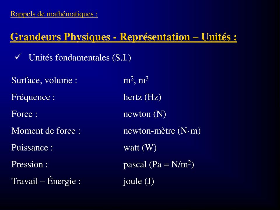 ) Surface, volume : m 2, m 3 Fréquence : hertz (Hz) Force : newton (N)