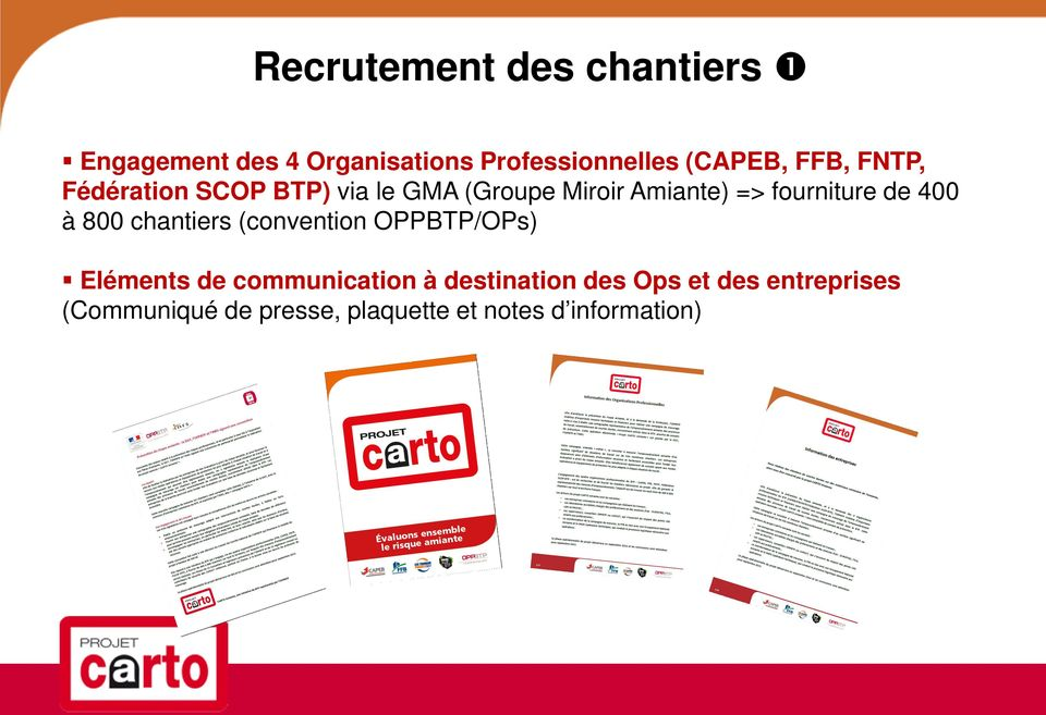 400 à 800 chantiers (convention OPPBTP/OPs) Eléments de communication à destination