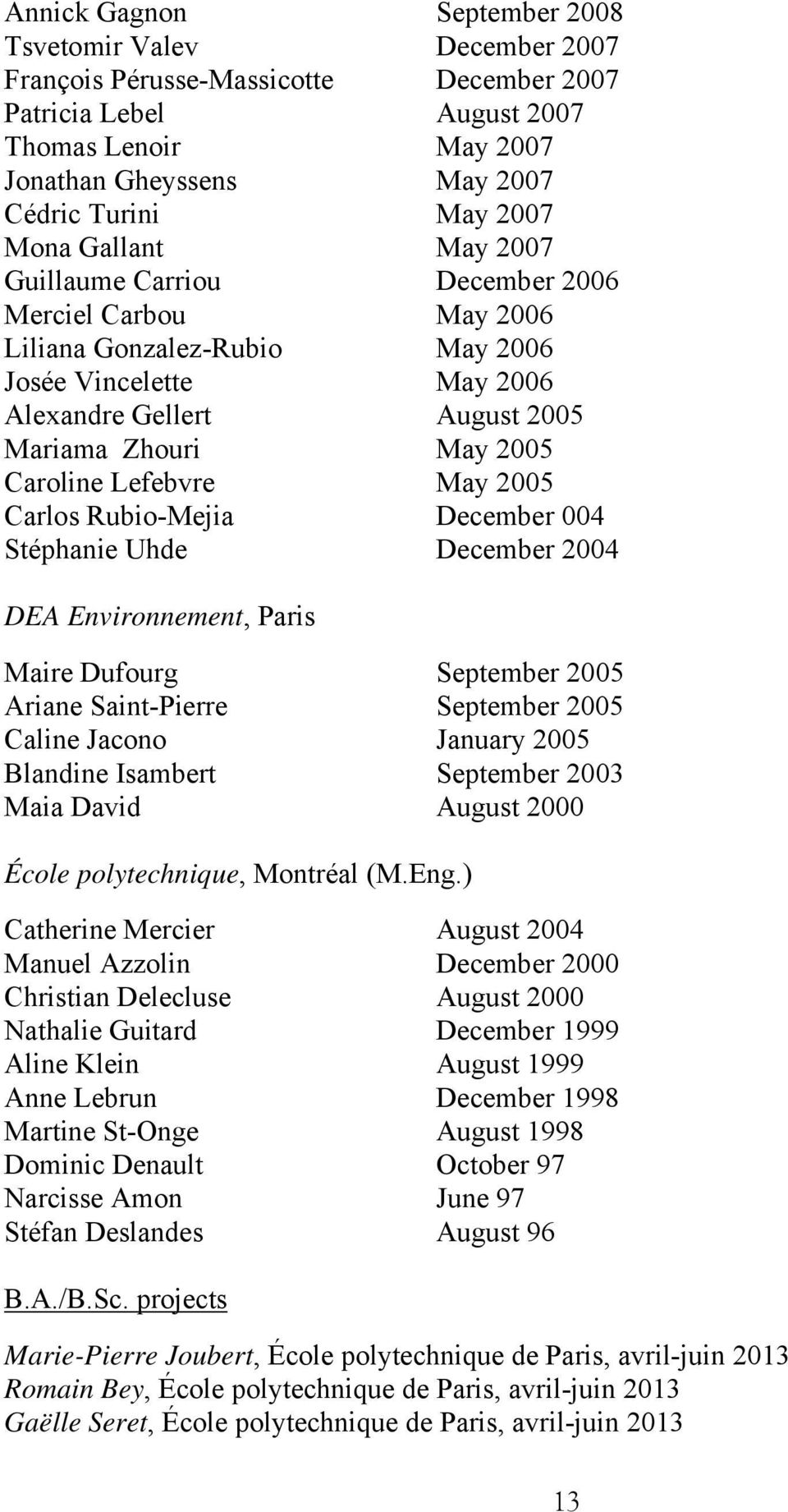 Caroline Lefebvre May 2005 Carlos Rubio-Mejia December 004 Stéphanie Uhde December 2004 DEA Environnement, Paris Maire Dufourg September 2005 Ariane Saint-Pierre September 2005 Caline Jacono January