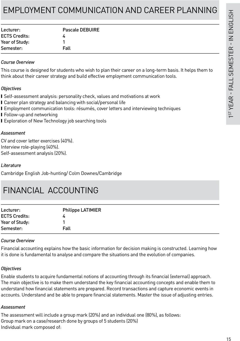 Objectives Self-assessment analysis: personality check, values and motivations at work Career plan strategy and balancing with social/personal life Employment communication tools: résumés, cover