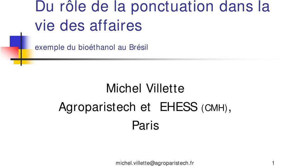 Michel Villette Agroparistech et EHESS