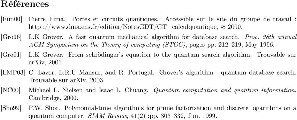 From schrödinger s euation to the uantum search algorithm. Trouvable sur arxiv, 001. [LMP03] C. Lavor, L.R.U Mansur, and R. Portugal. Grover s algorithm : uantum database search.