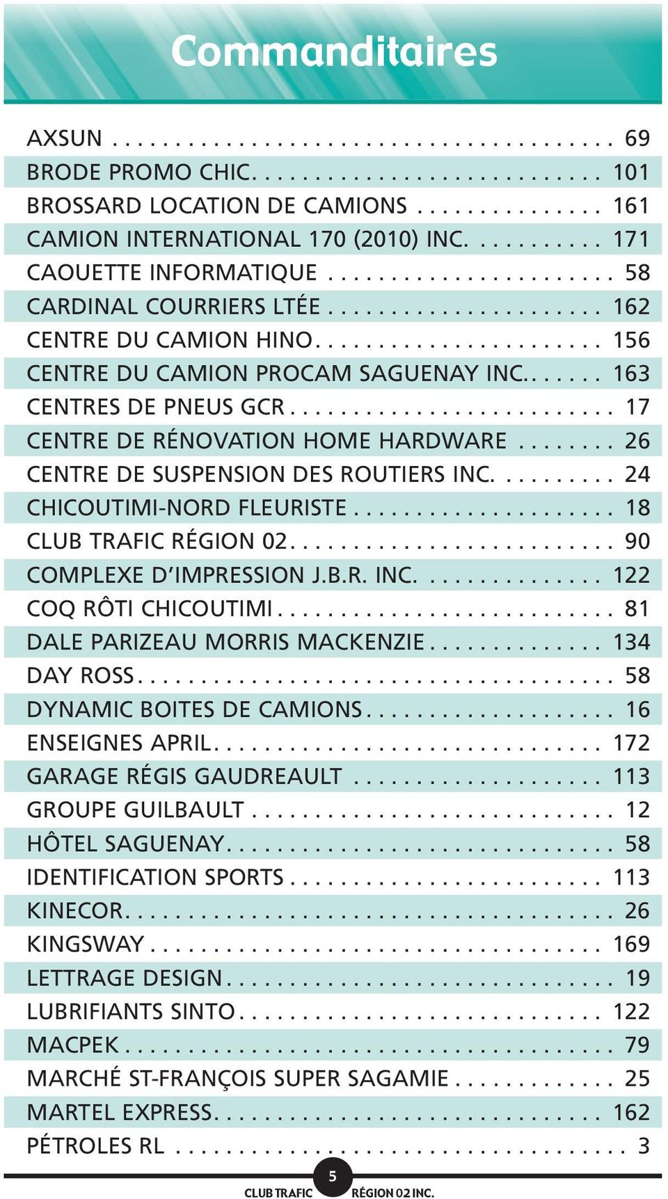 ...... 163 CENTRES DE PNEUS GCR.......................... 17 CENTRE DE RÉNOVATION HOME HARDWARE........ 26 CENTRE DE SUSPENSION DES ROUTIERS INC.......... 24 CHICOUTIMI-NORD FLEURISTE.