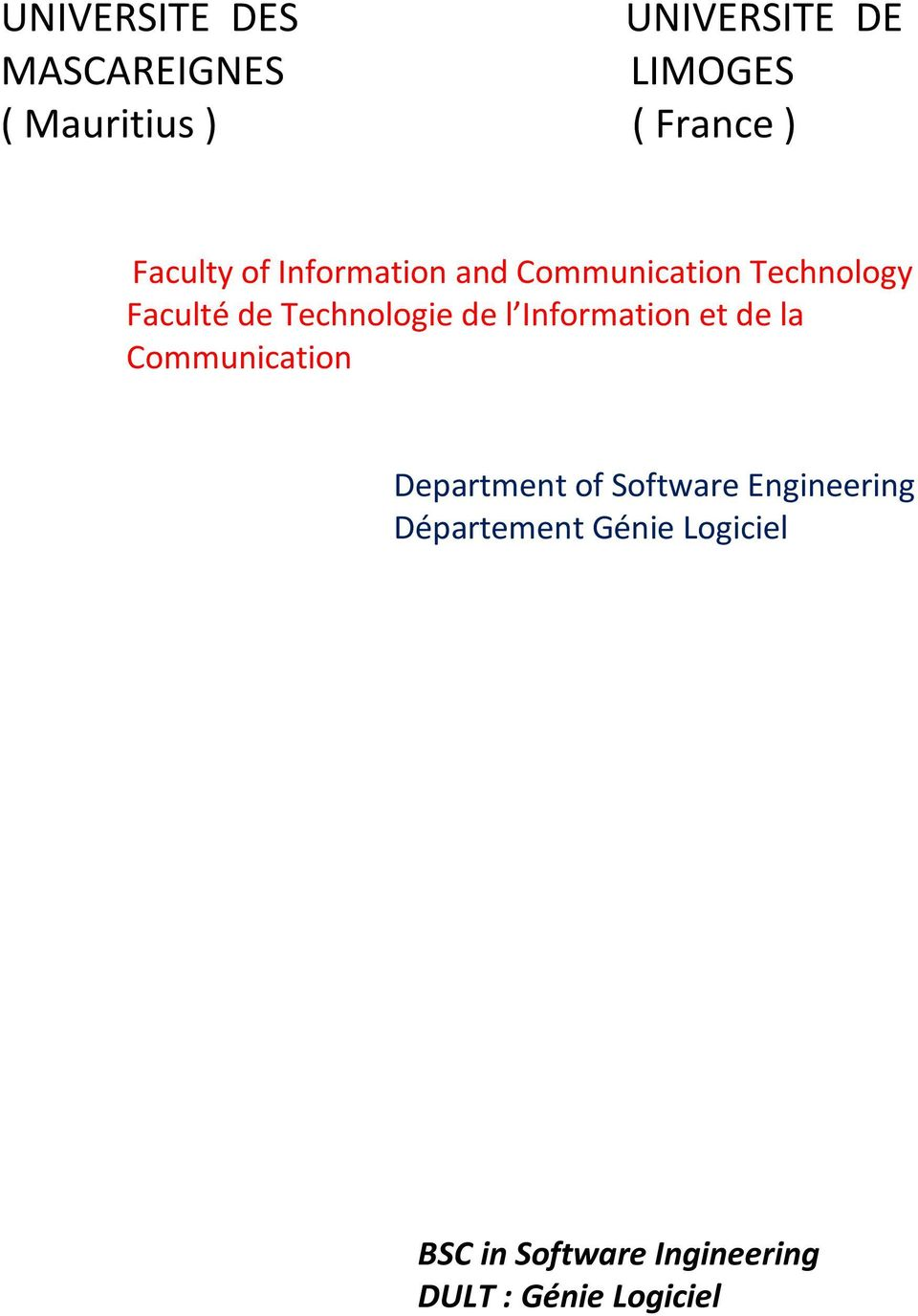 de l Information et de la Communication Department of Software Engineering
