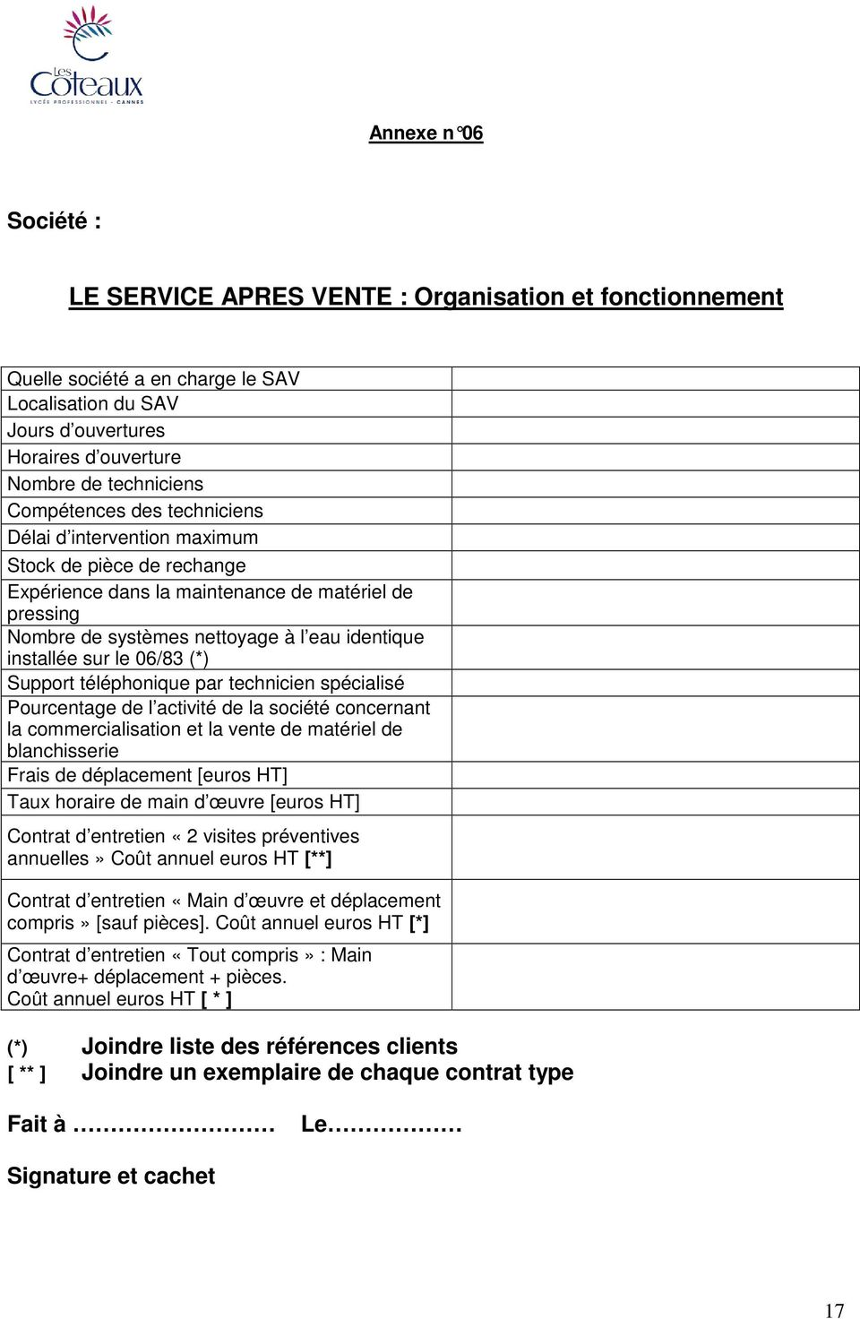 C c a p cahier des clauses administratives particuli res for Taux horaire main d oeuvre garage