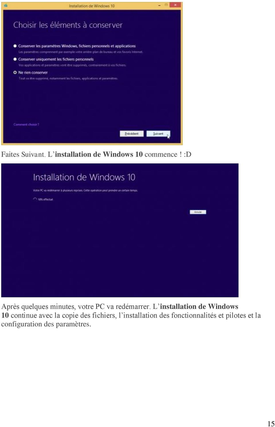 L installation de Windows 10 continue avec la copie des