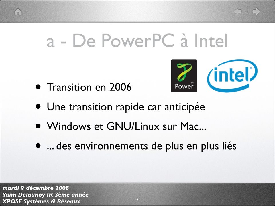 anticipée Windows et GNU/Linux sur Mac.