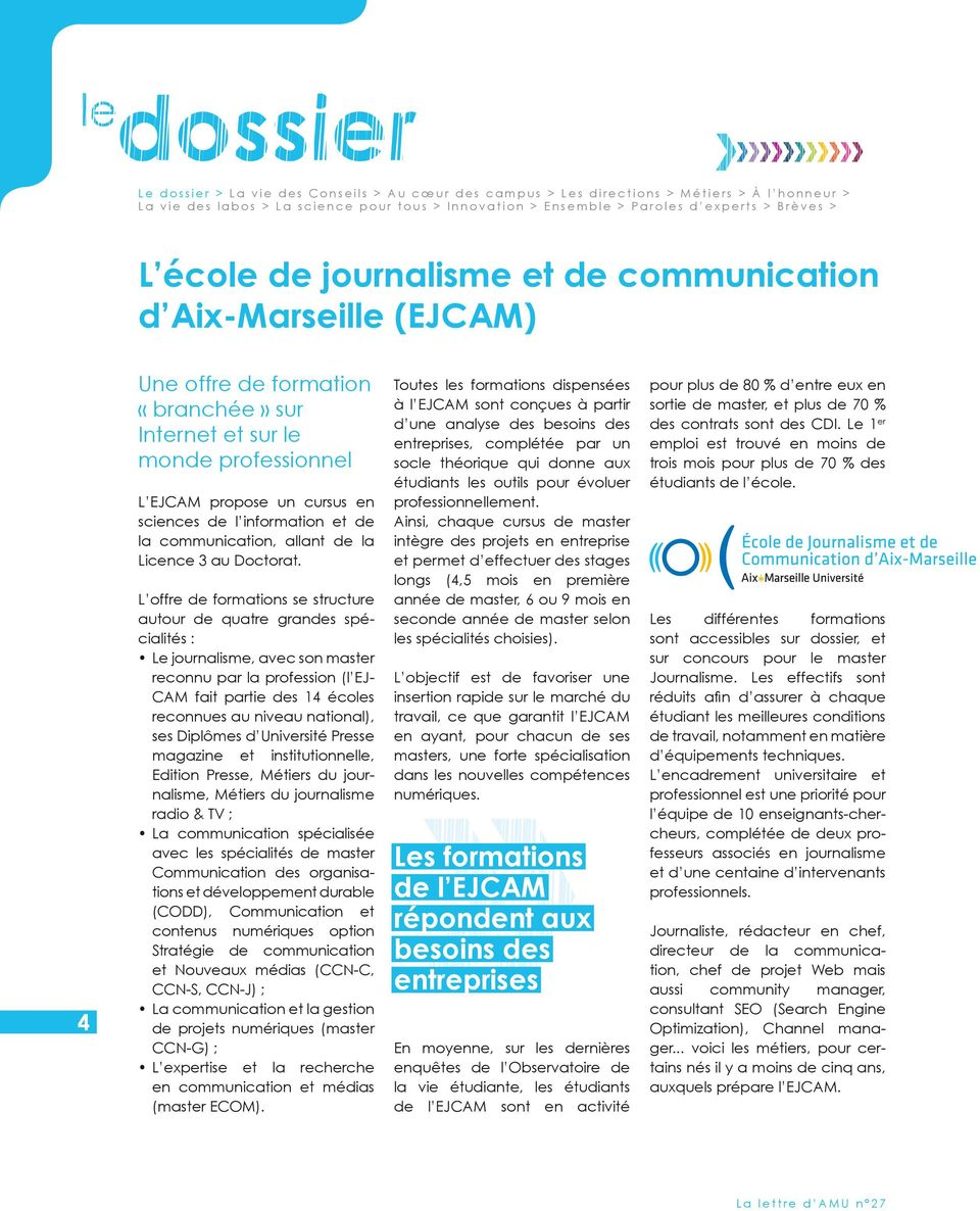 janvier n 27 l cole de journalisme et de communication d aix marseille ejcam pdf. Black Bedroom Furniture Sets. Home Design Ideas