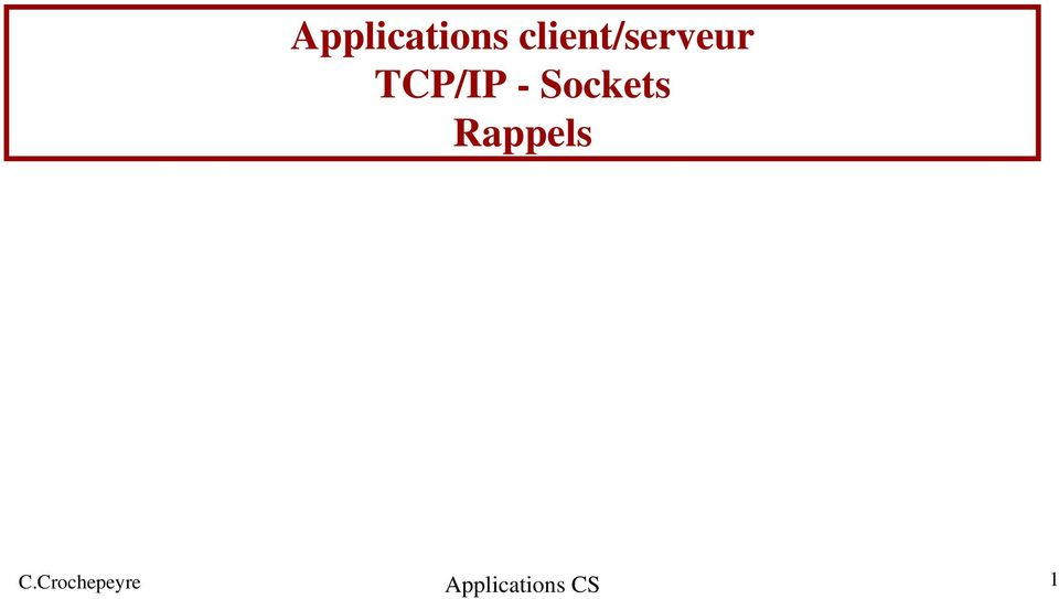 TCP/IP - Sockets