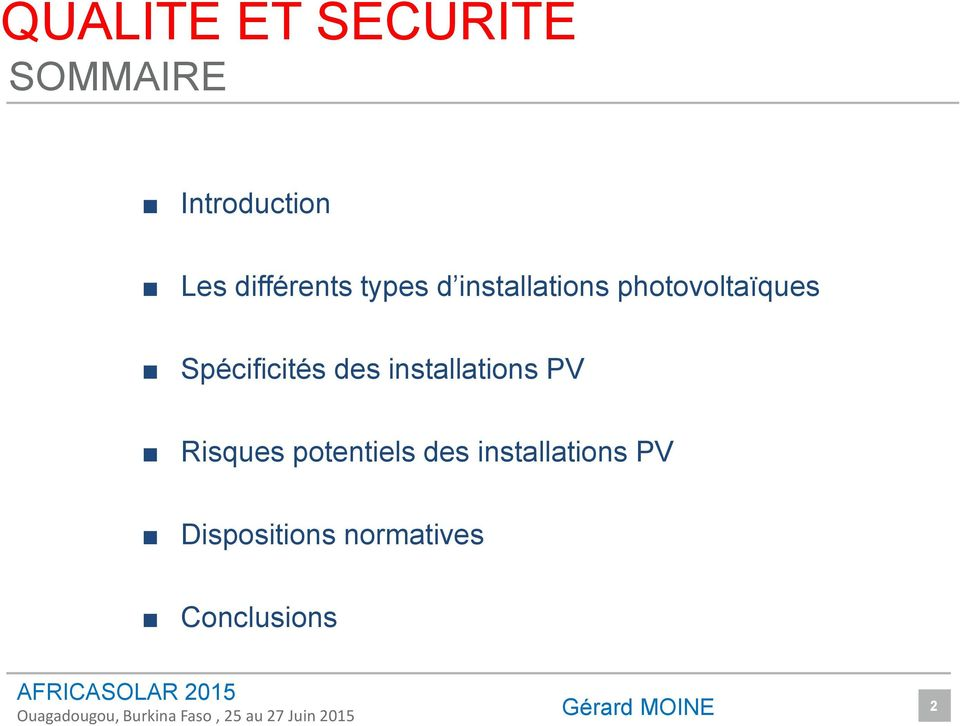 installations PV Risques potentiels des