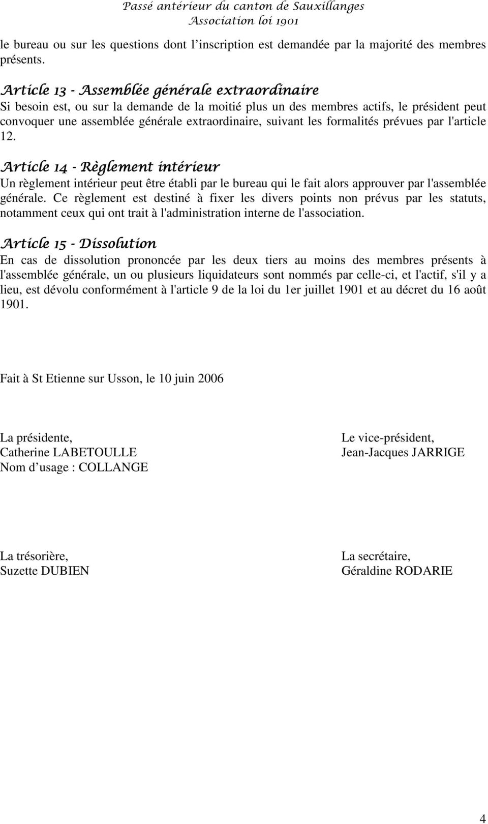 Le pass ant rieur du canton de sauxillanges pdf - Composition bureau association loi 1901 ...