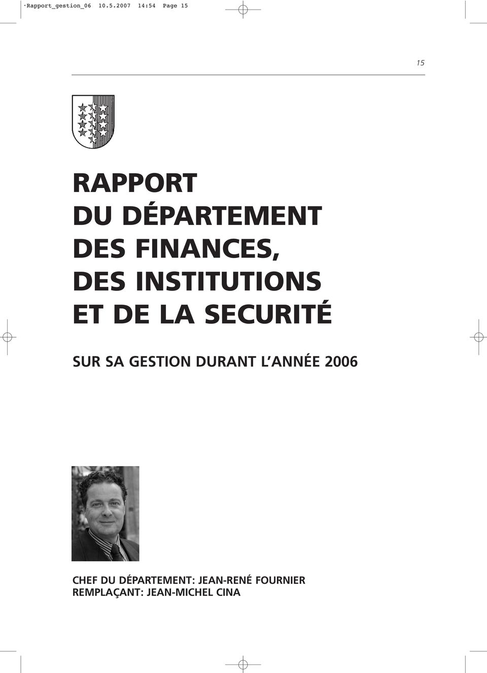 FINANCES, DES INSTITUTIONS ET DE LA SECURITÉ SUR SA
