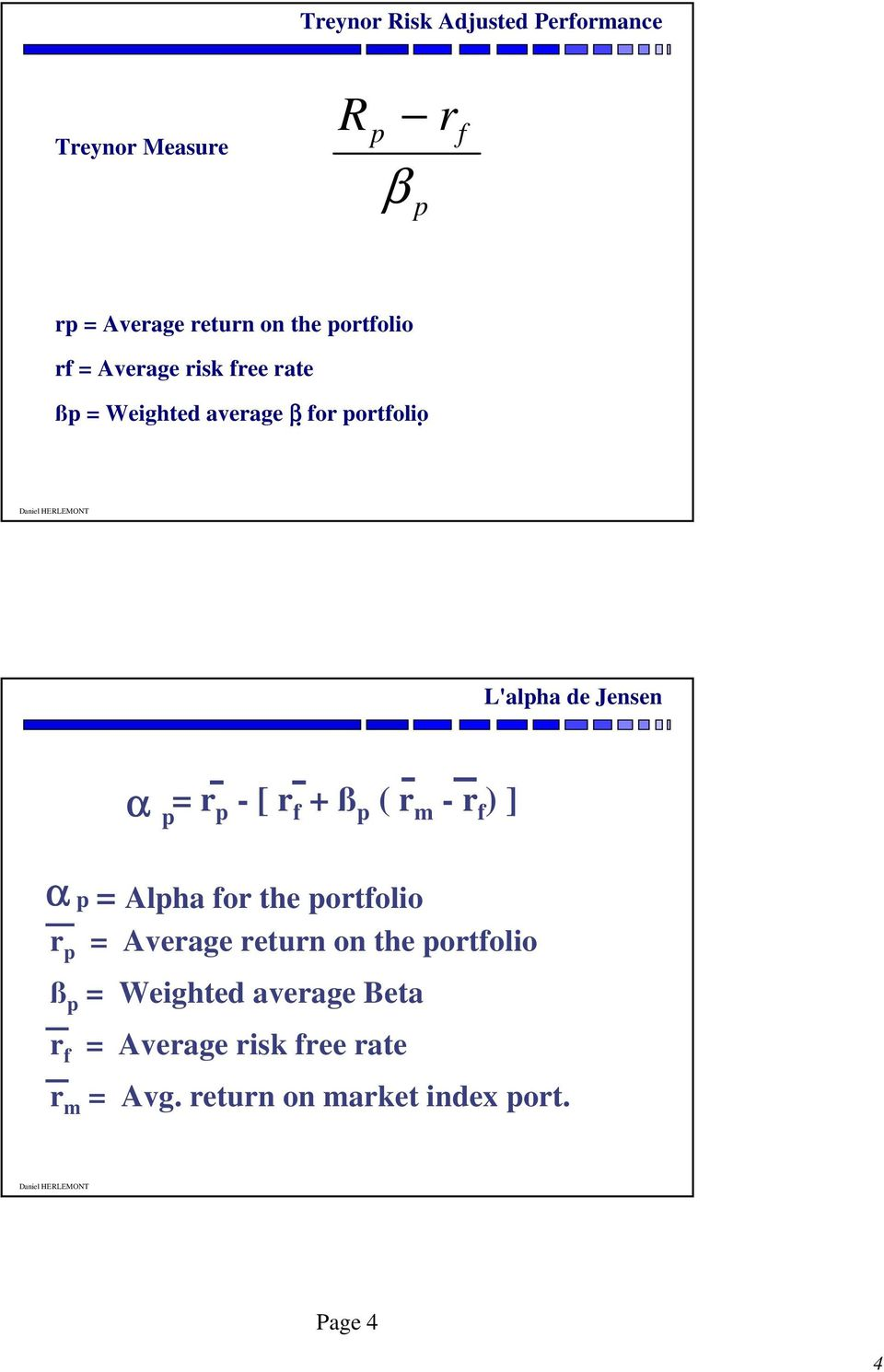 r f + ß p ( r m - r f ) ] α r p p = Alpha for the portfolio = Average return on the portfolio ß p
