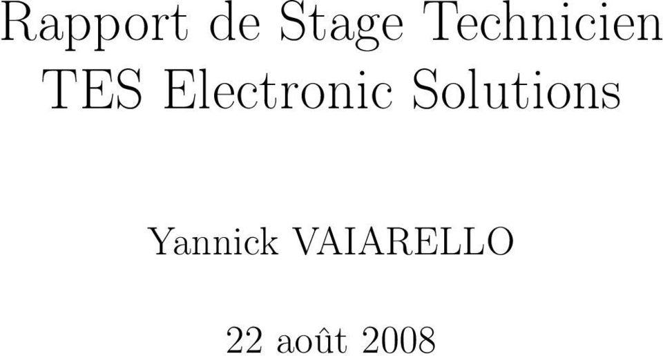Electronic Solutions