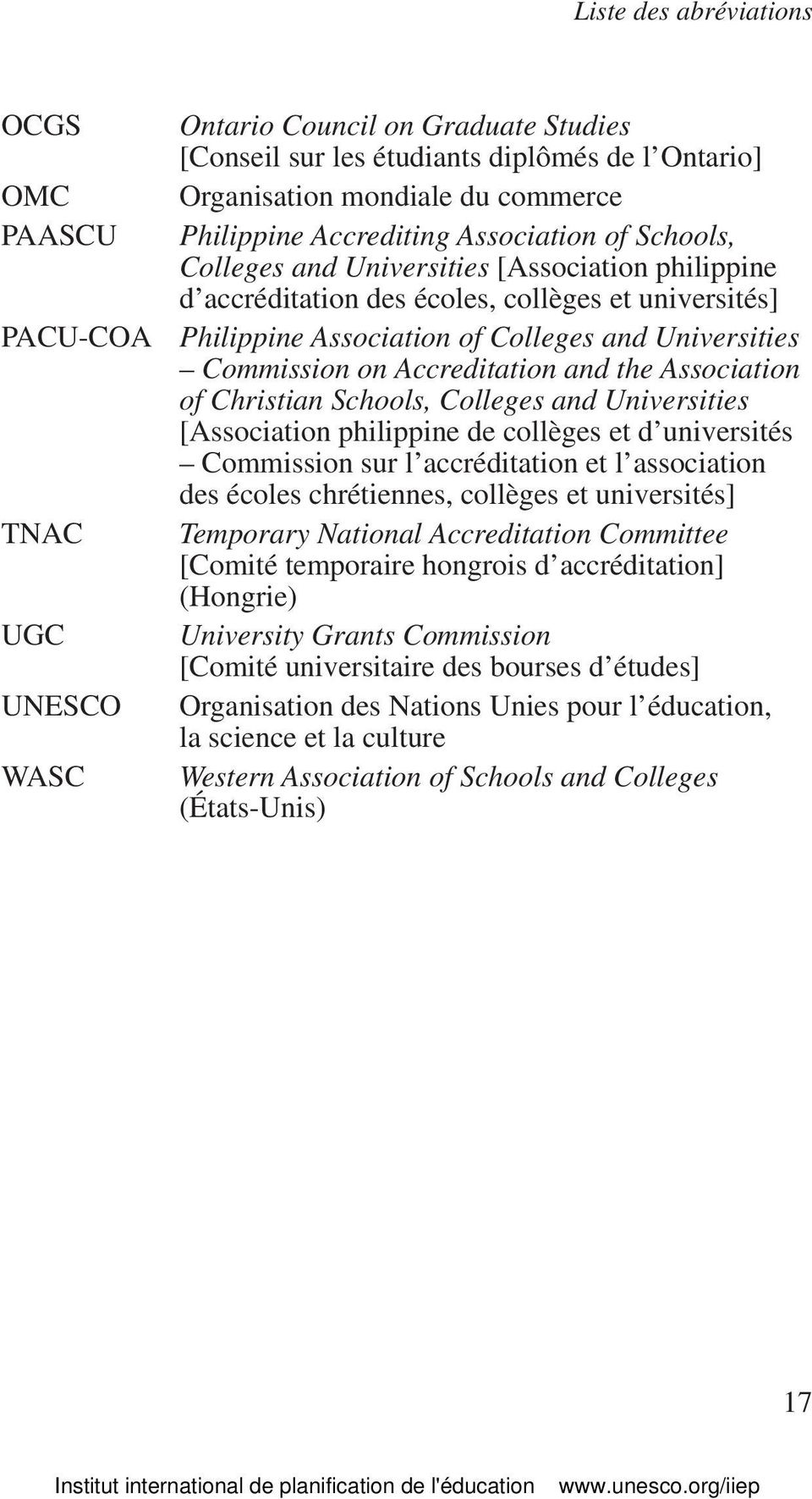 Accreditation and the Association of Christian Schools, Colleges and Universities [Association philippine de collèges et d universités Commission sur l accréditation et l association des écoles
