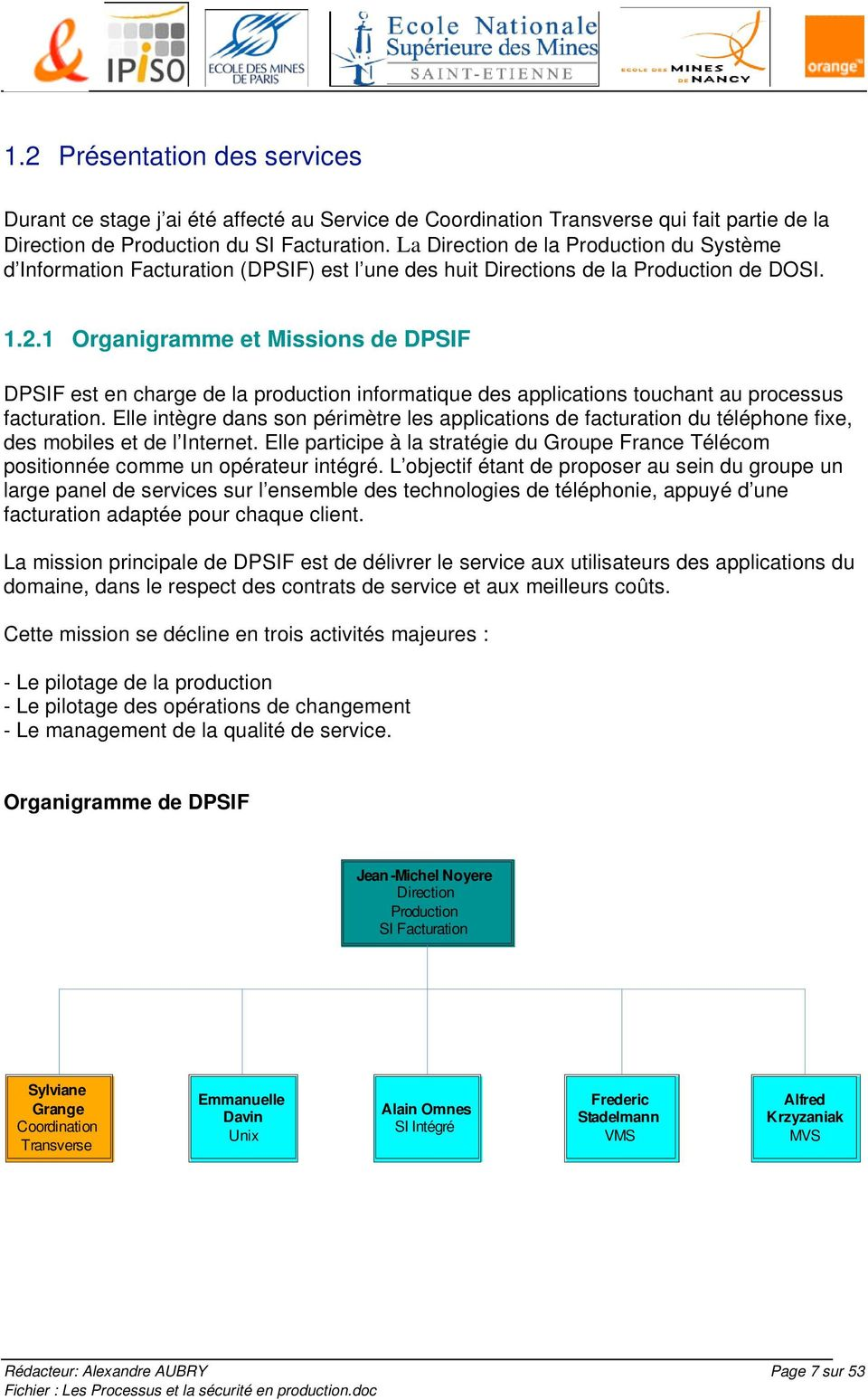 1 Organigramme et Missions de DPSIF DPSIF est en charge de la production informatique des applications touchant au processus facturation.