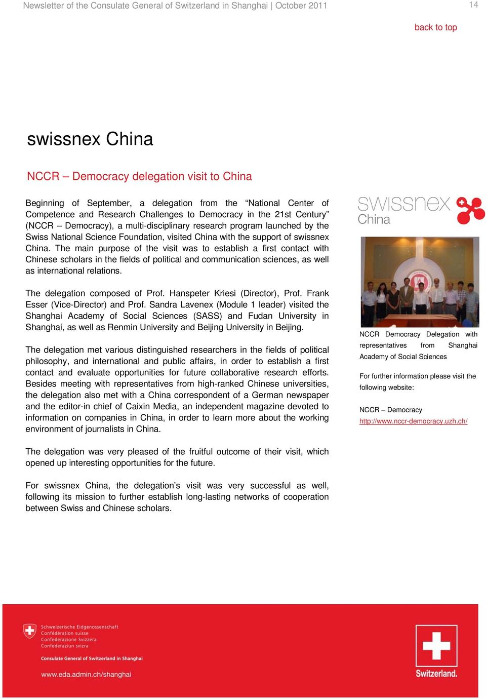 support of swissnex China.