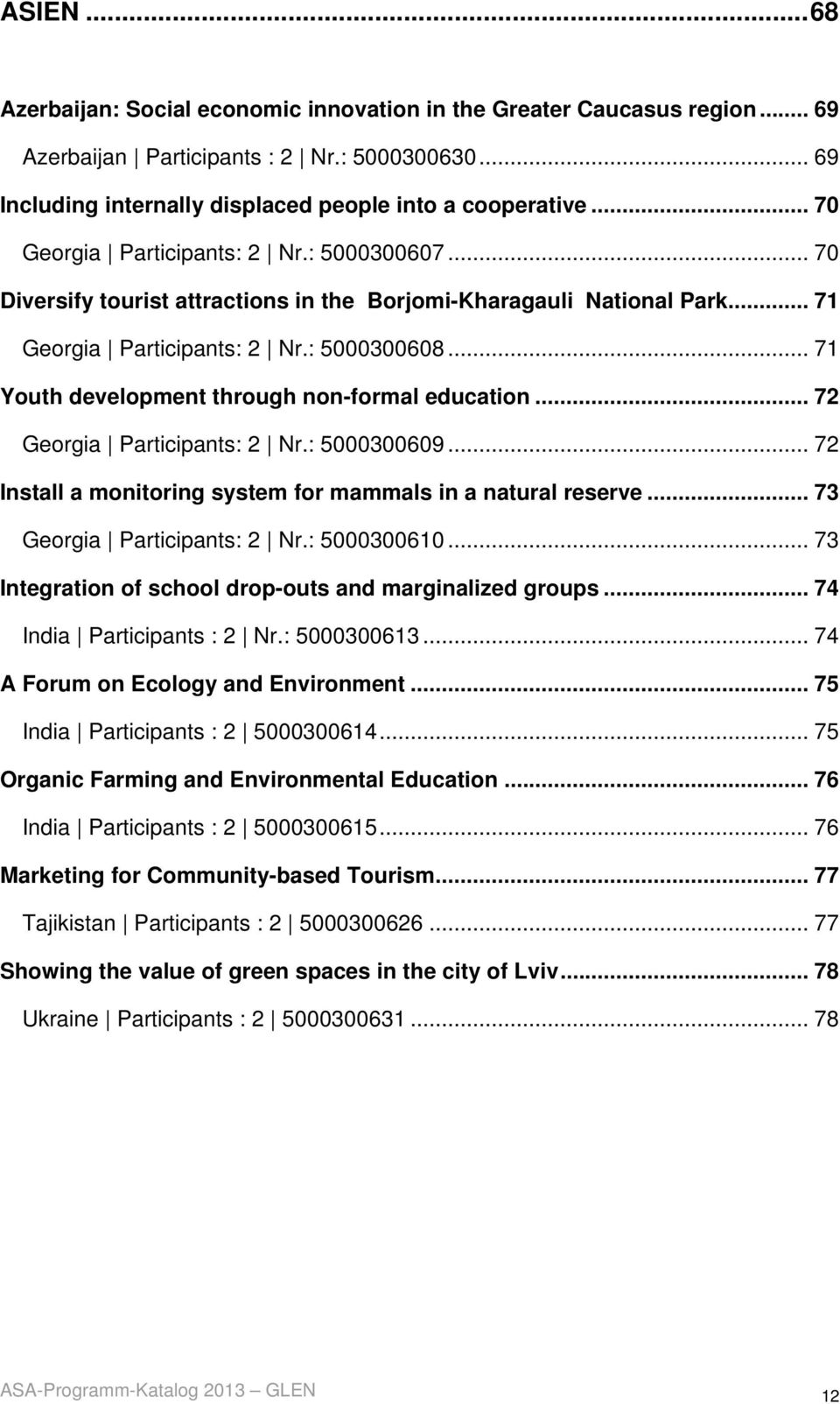 .. 71 Youth development through non-formal education... 72 Georgia Participants: 2 Nr.: 5000300609... 72 Install a monitoring system for mammals in a natural reserve... 73 Georgia Participants: 2 Nr.