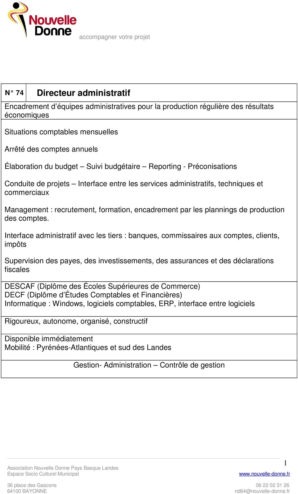 plannings de production des comptes.