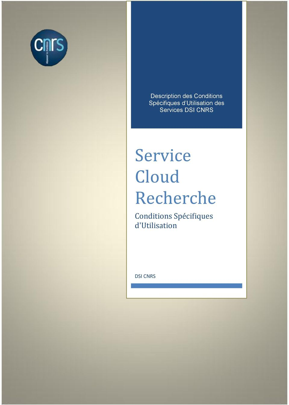 Services DSI CNRS Service Cloud